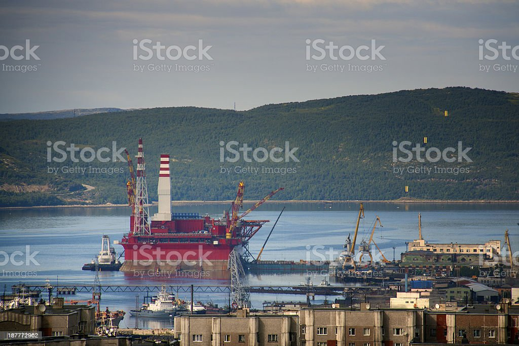 Oil Rig and harbor industry stock photo