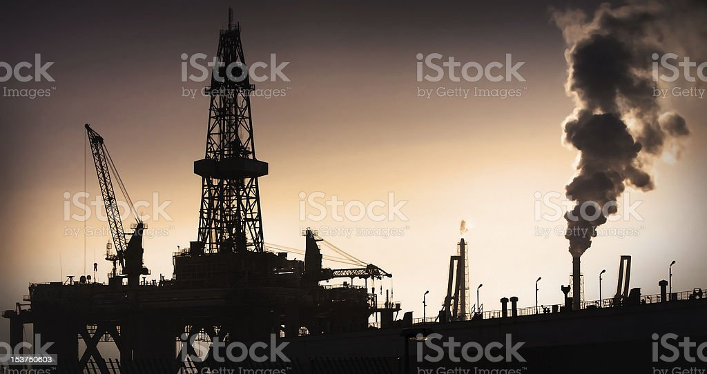 Oil Rig and Smoke royalty-free stock photo