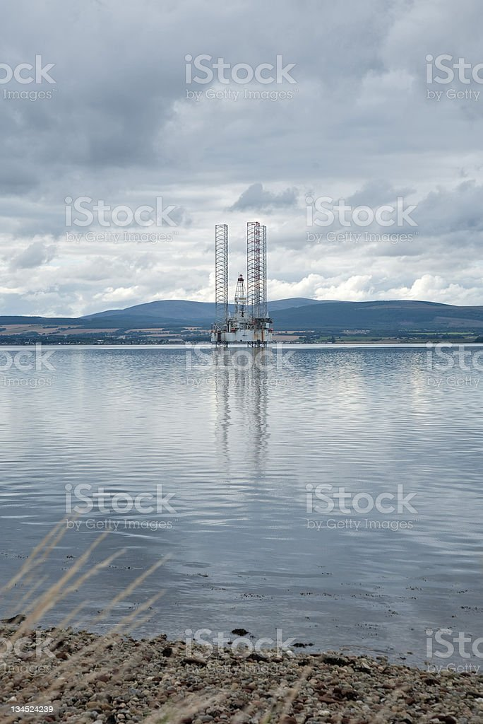 Oil rig at Cromarty Firth Scotland royalty-free stock photo
