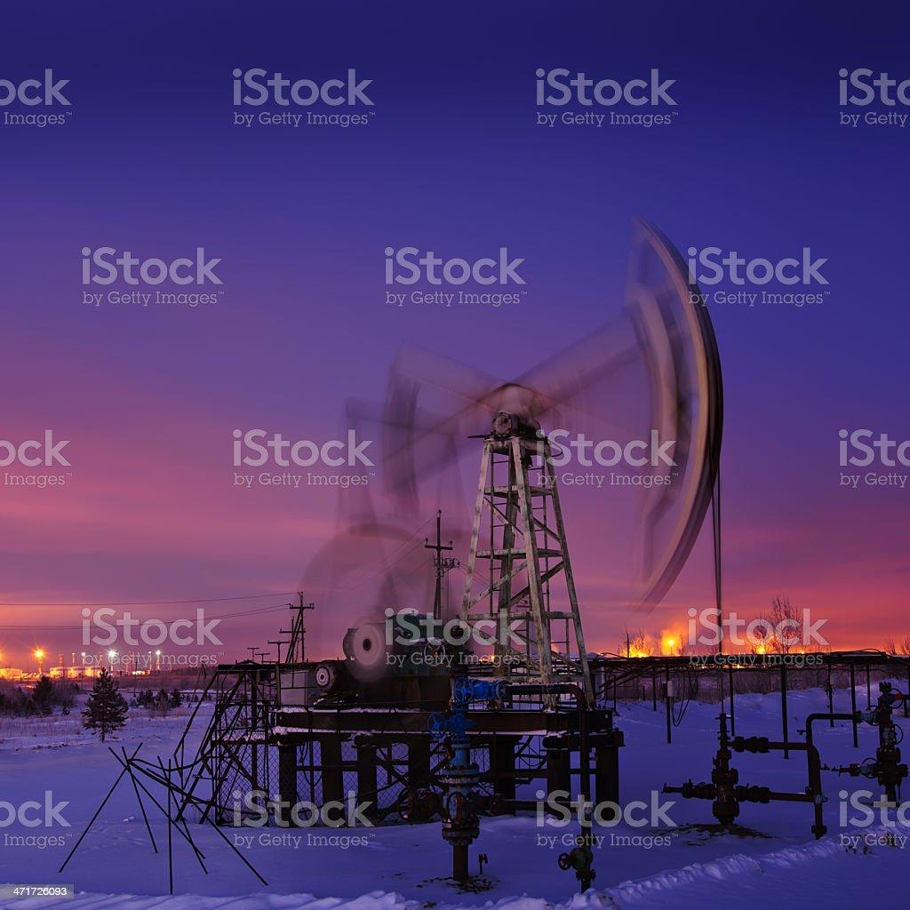 Oil rig at night. royalty-free stock photo
