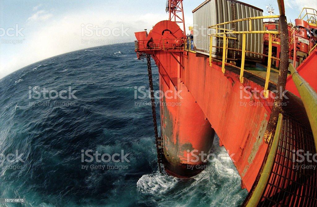 oil rig at sea fisheye view royalty-free stock photo