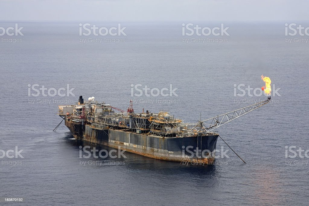 Oil rig at sea royalty-free stock photo