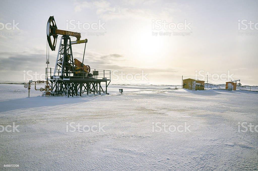 Oil rig back light stock photo