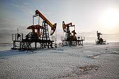 Oil rig back sun light
