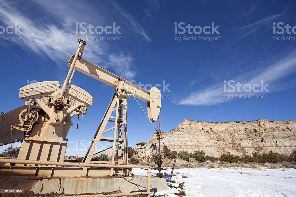 oil rig desert badlands landscape royalty-free stock photo