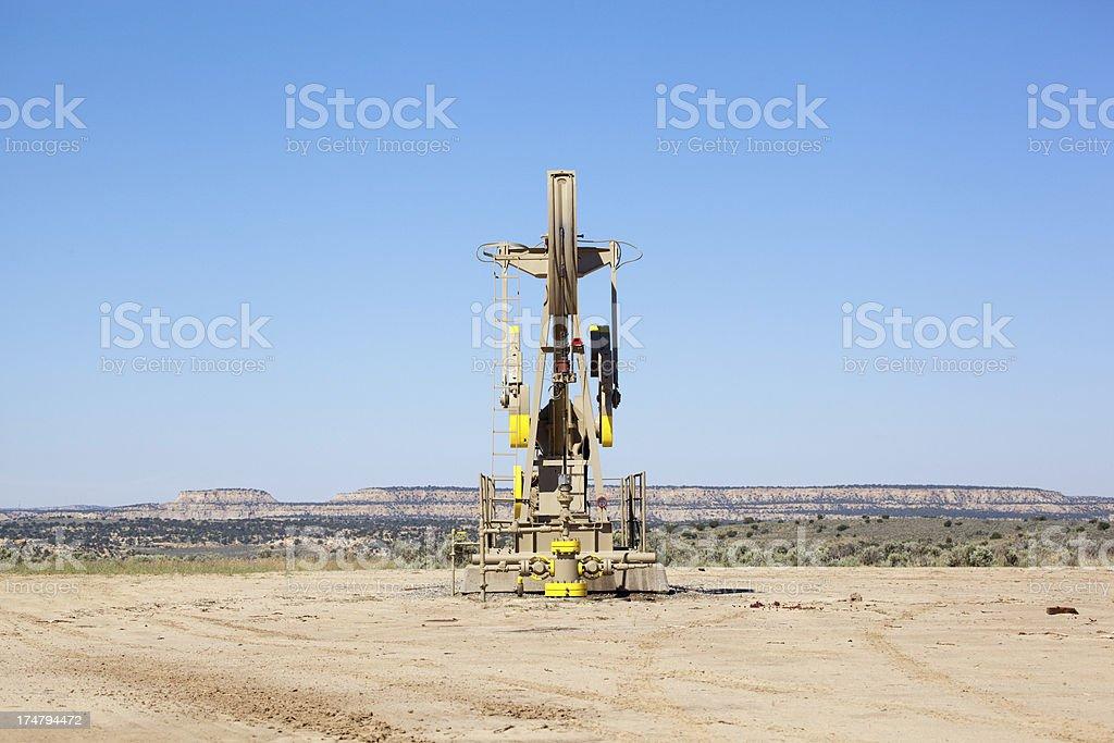 oil rig desert landscape stock photo