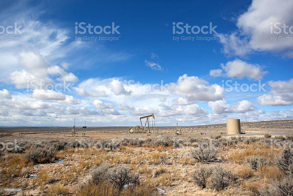 oil rig desert landscape sky royalty-free stock photo