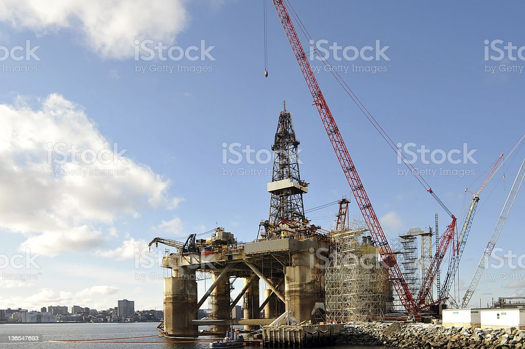 Oil rig docked for maintenance royalty-free stock photo