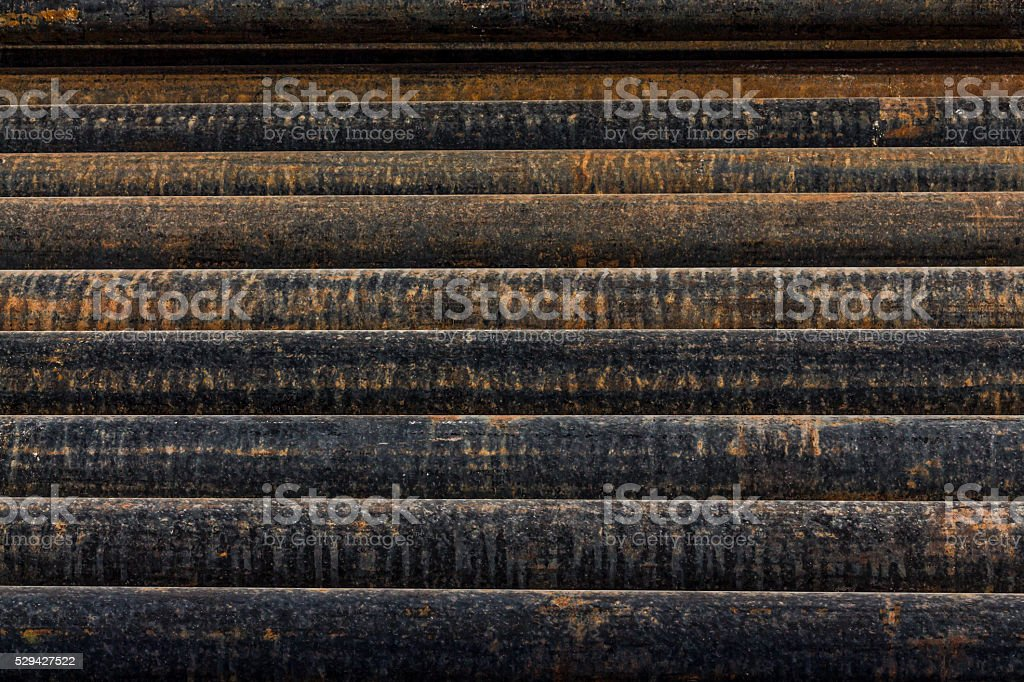 Oil rig drilling pipes stock photo