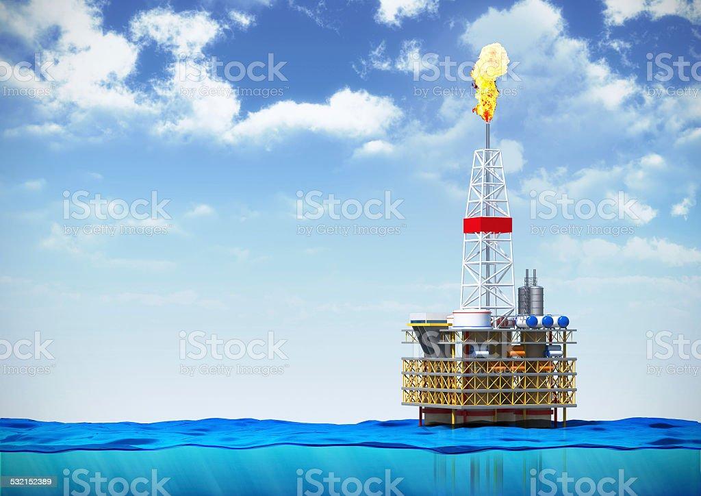 oil rig drilling platform stock photo