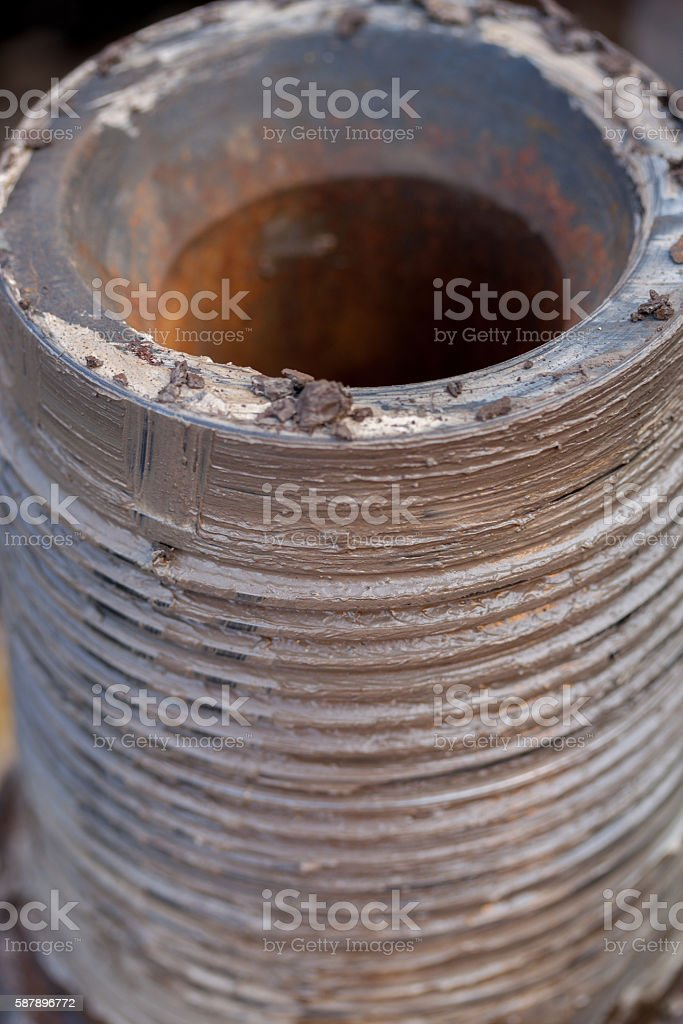 oil rig drillpipe screw thread stock photo