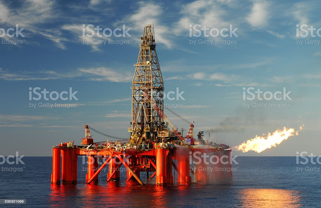Oil rig exploring for oil and gas. stock photo