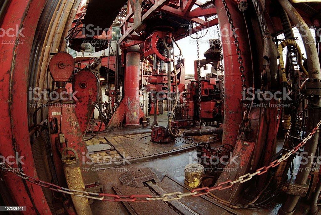 oil rig fisheye view royalty-free stock photo