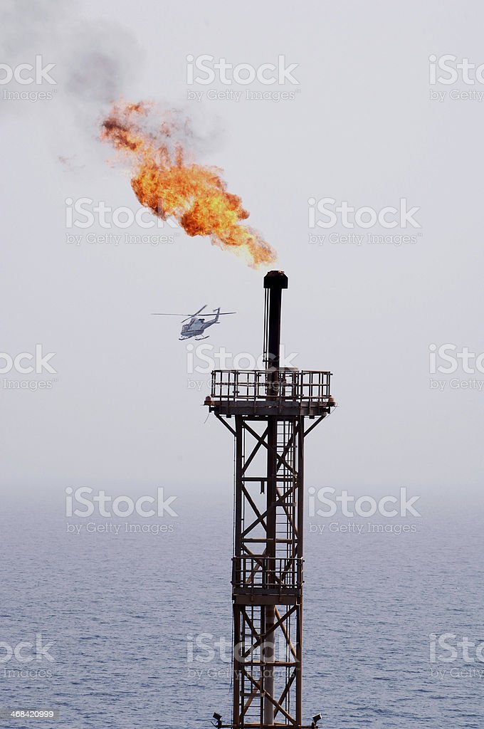 Oil Rig Flame stock photo