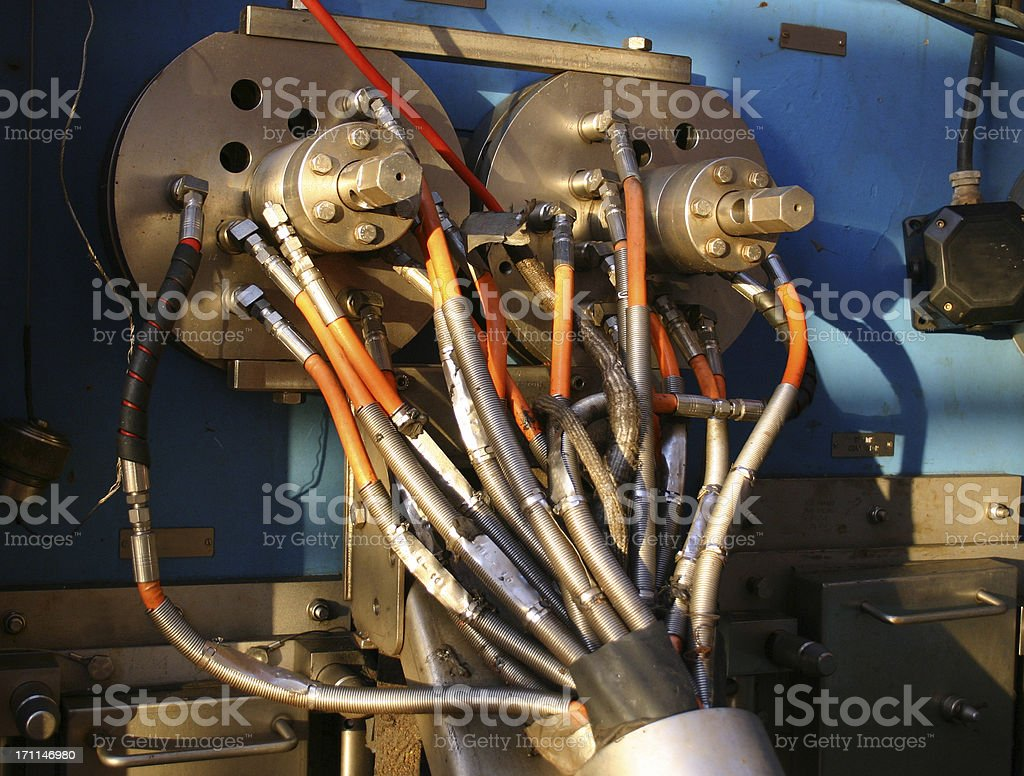 oil rig hydraulic control connections stock photo