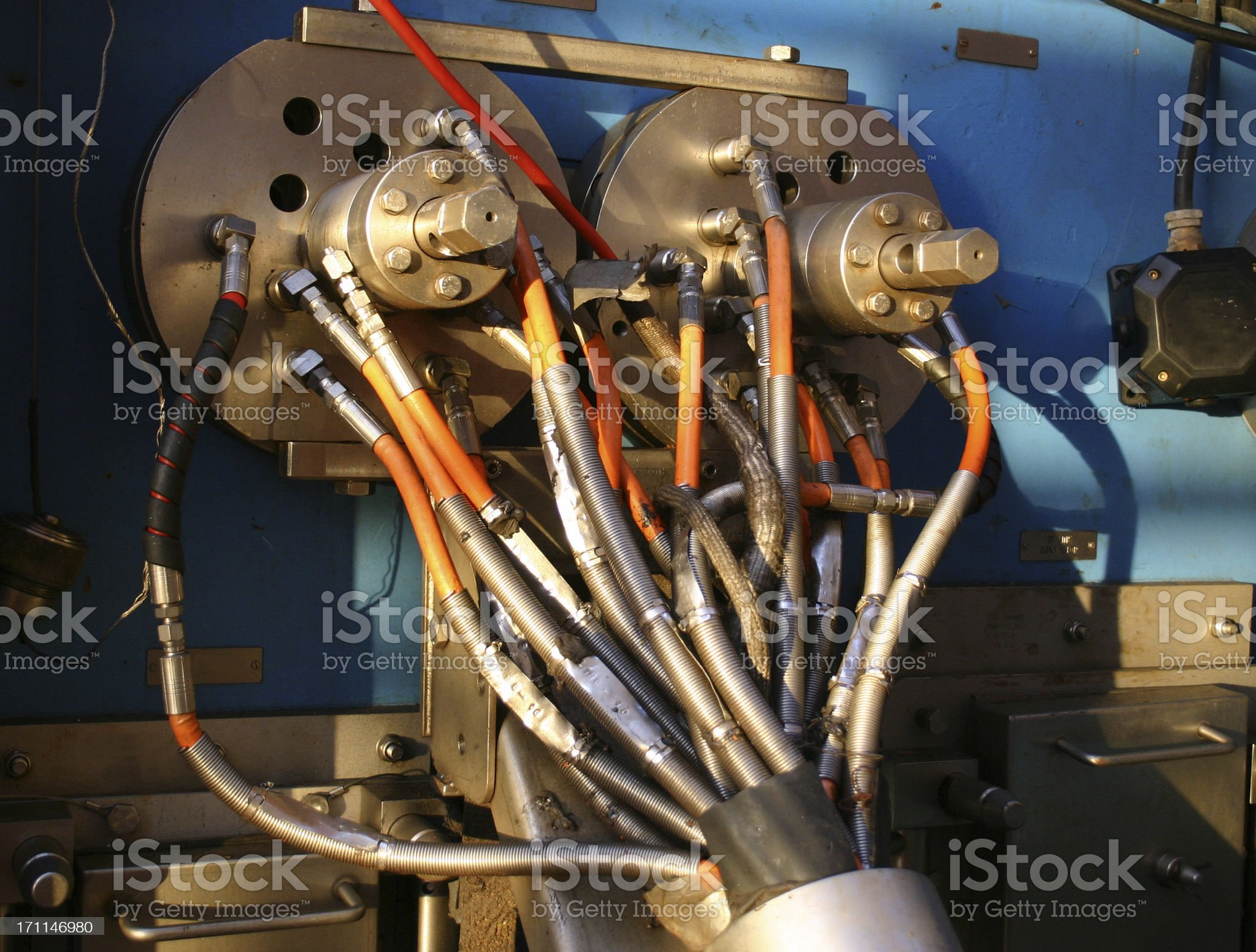 oil rig hydraulic control connections royalty-free stock photo