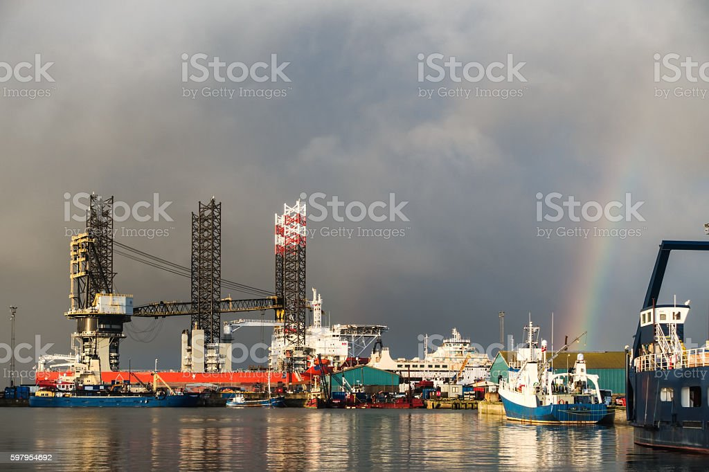 Oil rig in Esbjerg harbor, Denmark stock photo