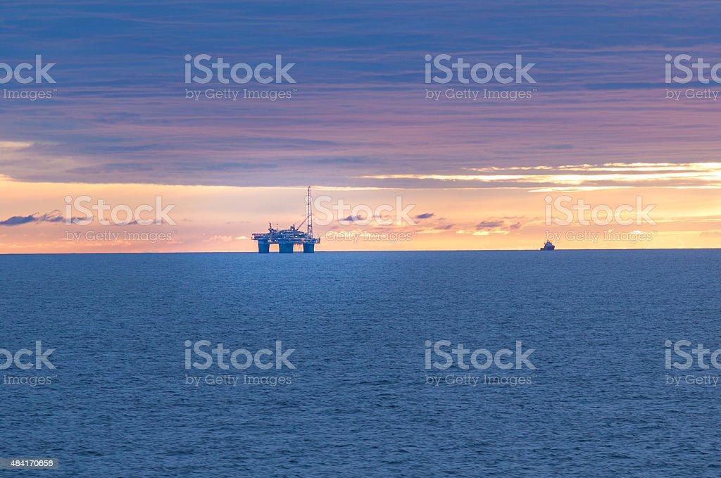 Oil rig in north sea stock photo