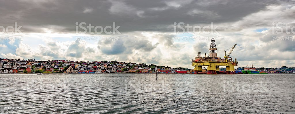 Oil rig in port stock photo