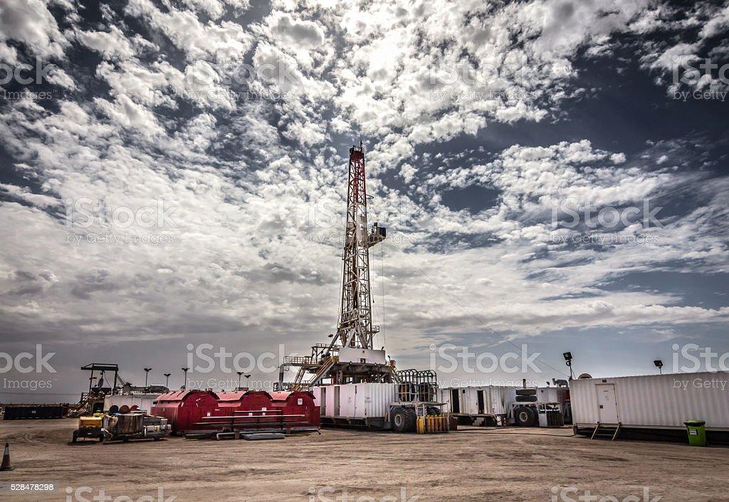 Oil rig in Rumaila stock photo