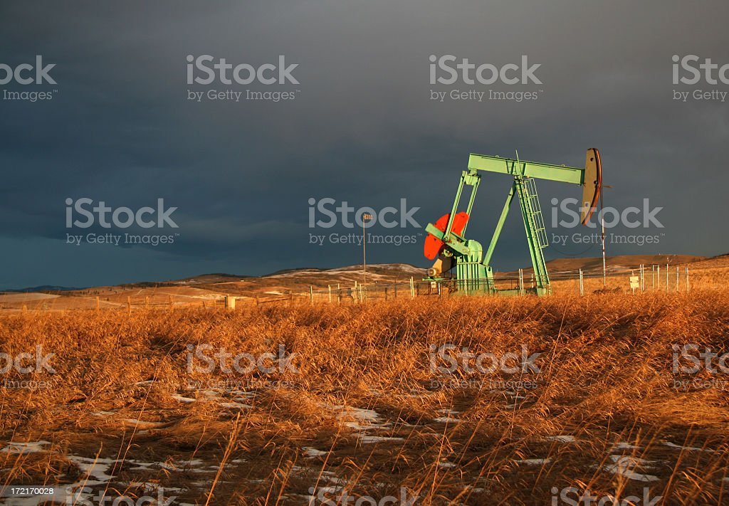Oil Rig in Saskatchewan royalty-free stock photo