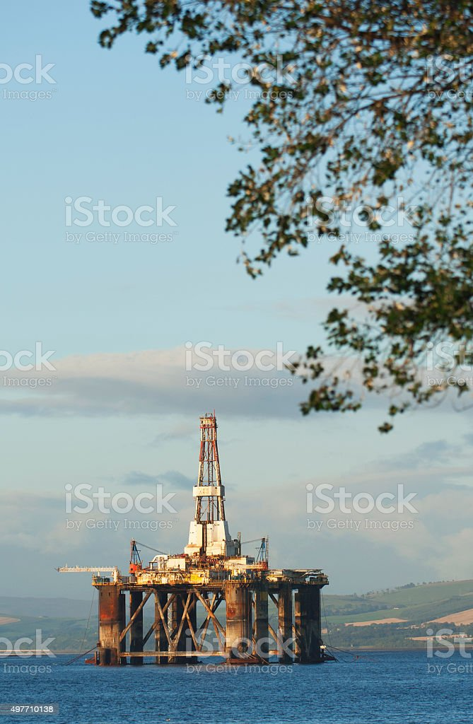 Oil rig in the Cromarty Firth stock photo