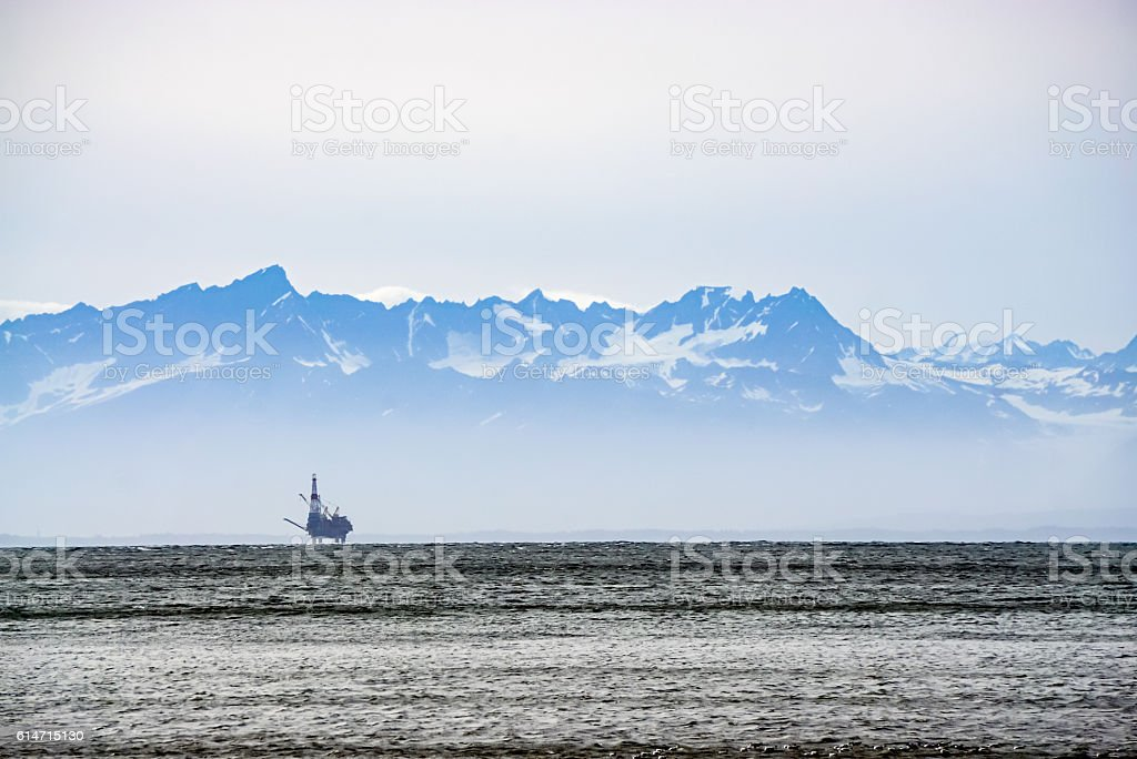 Oil Rig in the Mist stock photo