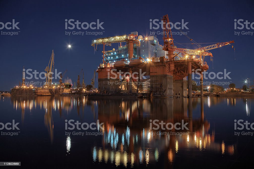 Oil rig in the yards royalty-free stock photo