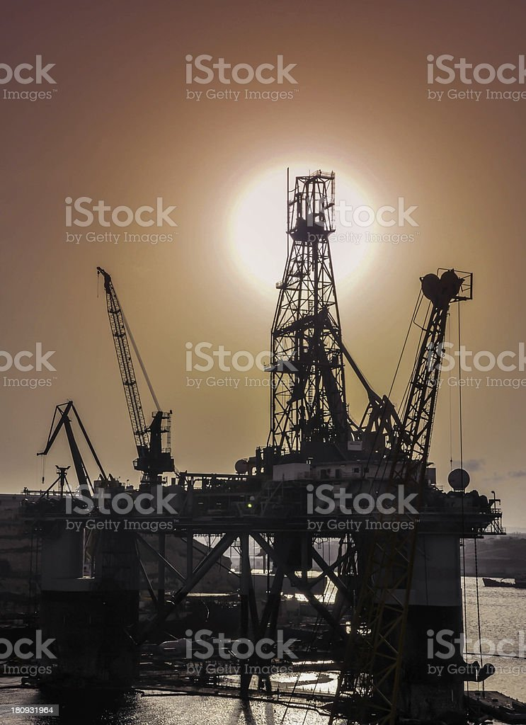 oil rig in the yards stock photo