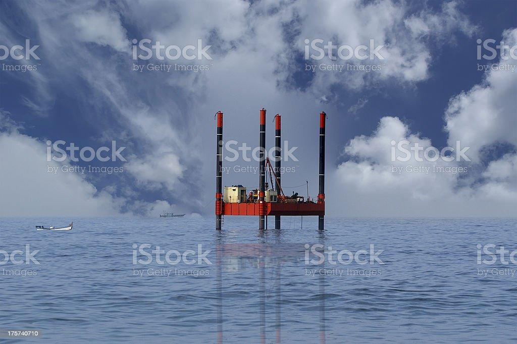 Oil Rig (Platform)-Industrial Equipment royalty-free stock photo