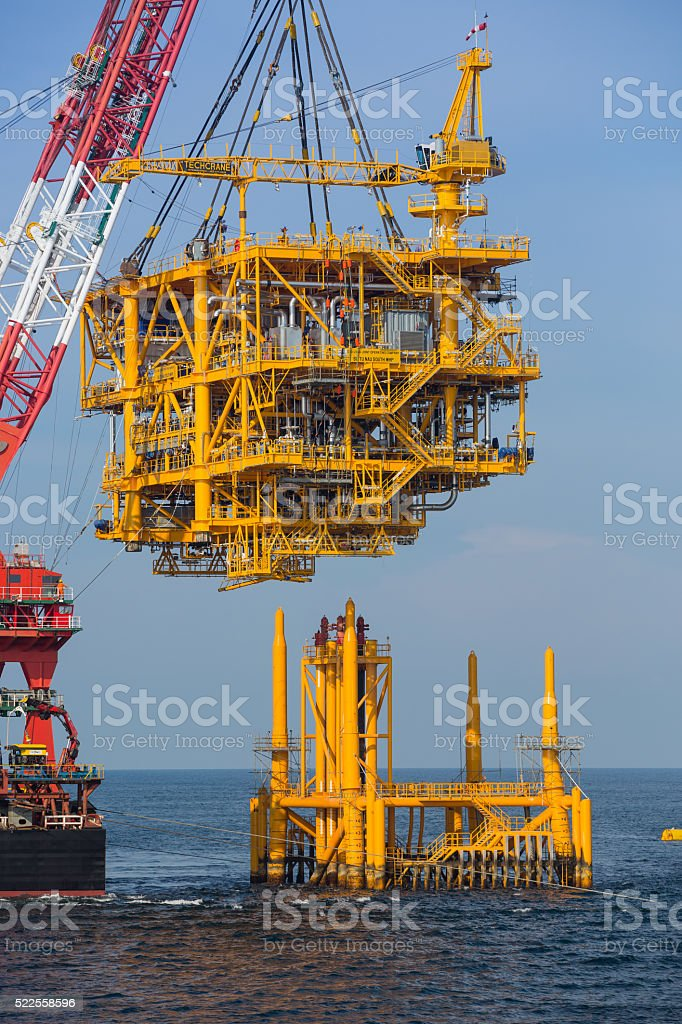 Oil rig lifting stock photo