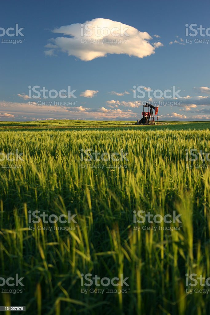 Oil Rig on the Prairie in Oilsands Region royalty-free stock photo