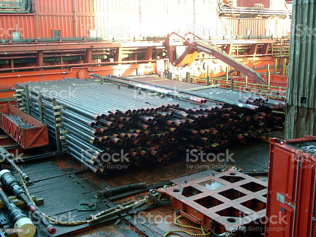 oil rig pipe on deck royalty-free stock photo