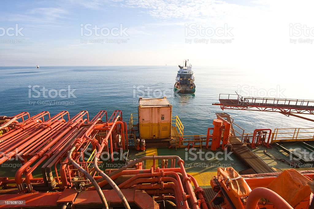 oil rig platform at sea royalty-free stock photo