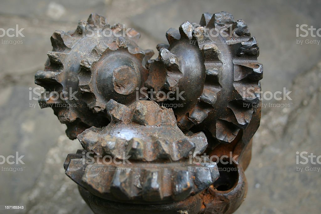 oil rig platform drill bit close up teeth detail stock photo