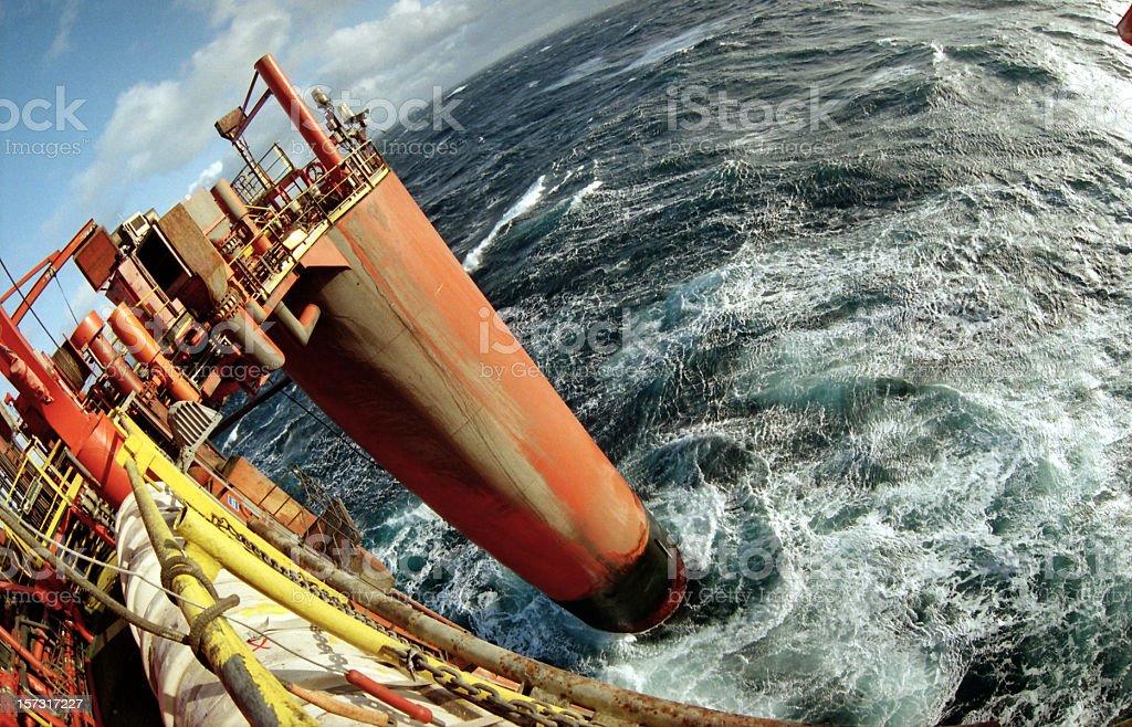 oil rig platform fisheye view stock photo