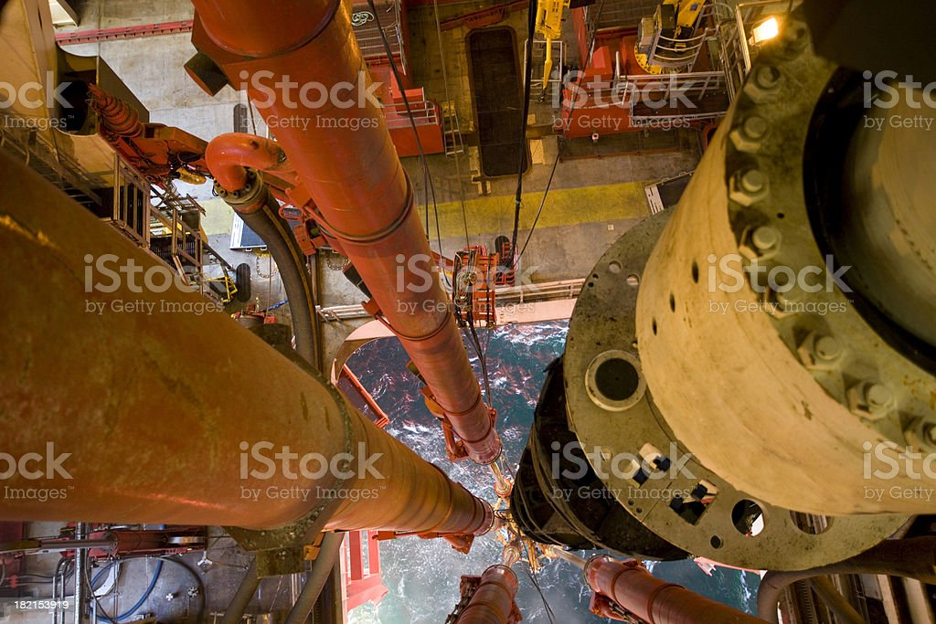oil rig platform riser pipe view to sea royalty-free stock photo