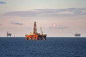 oil rig production platforms at sea