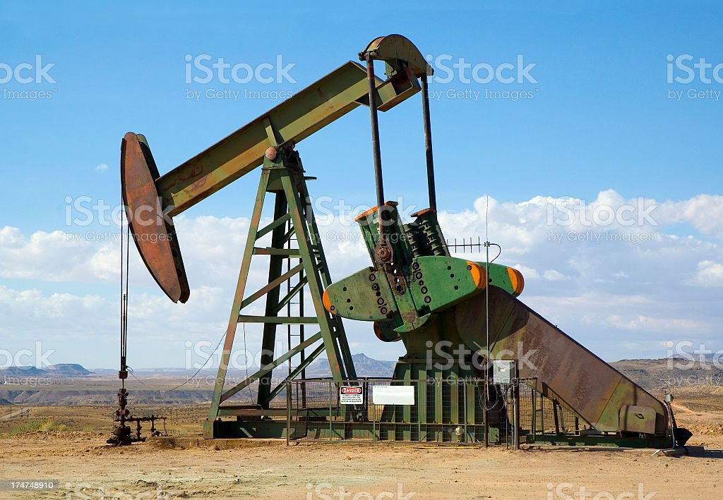 Oil Rig Pump in Open Field royalty-free stock photo
