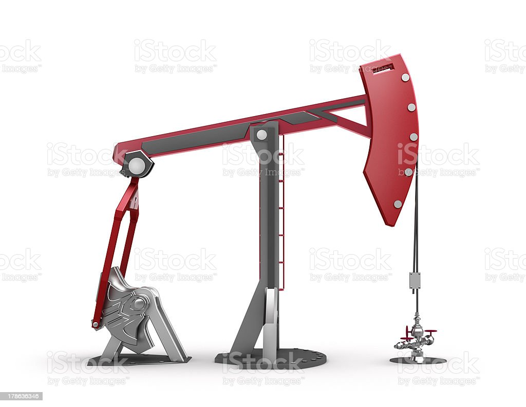Oil Rig : Pump jack isolated on white stock photo