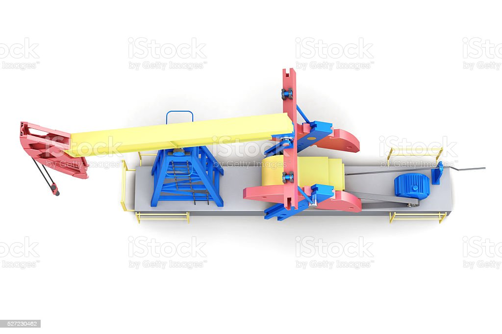 Oil rig pump-jack isolated on white background. stock photo