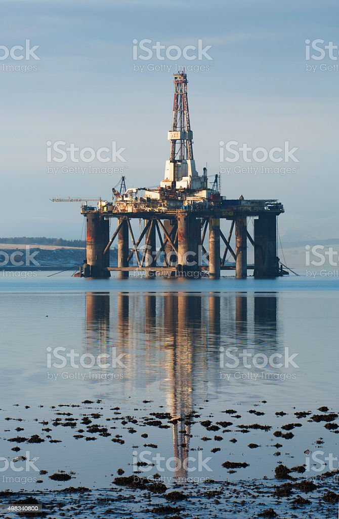 Oil rig reflections stock photo
