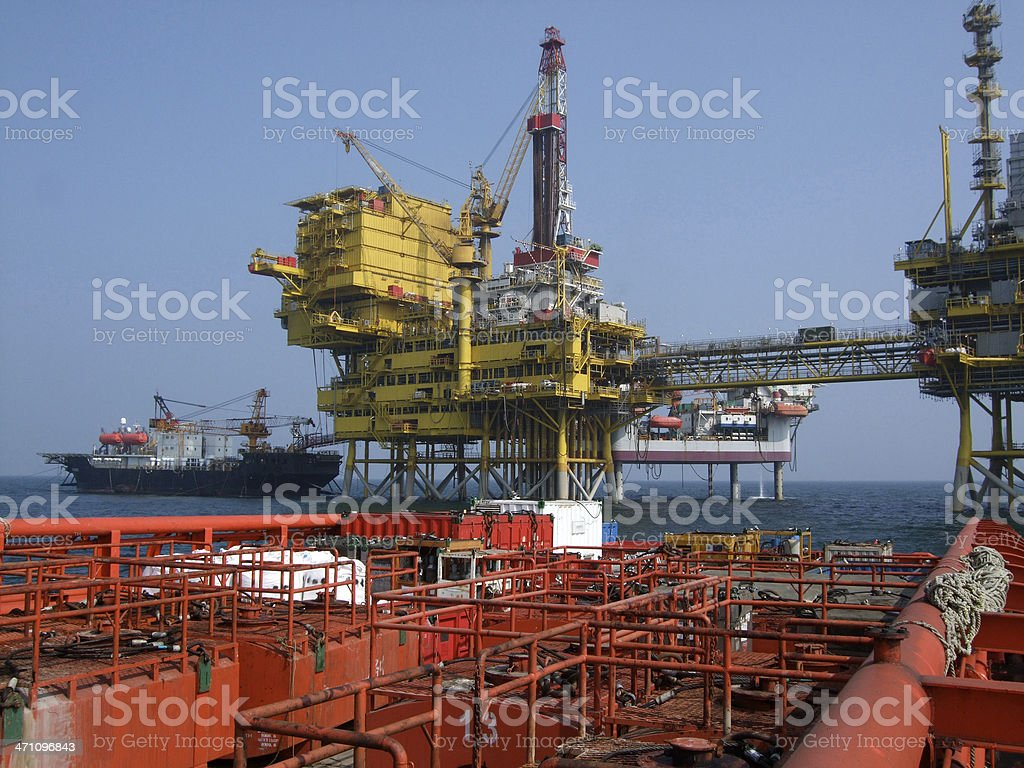 Oil Rig Resupply stock photo