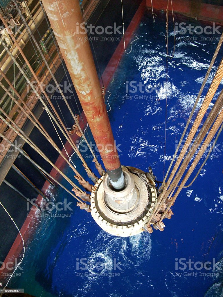 Oil Rig riser and slip joint stock photo