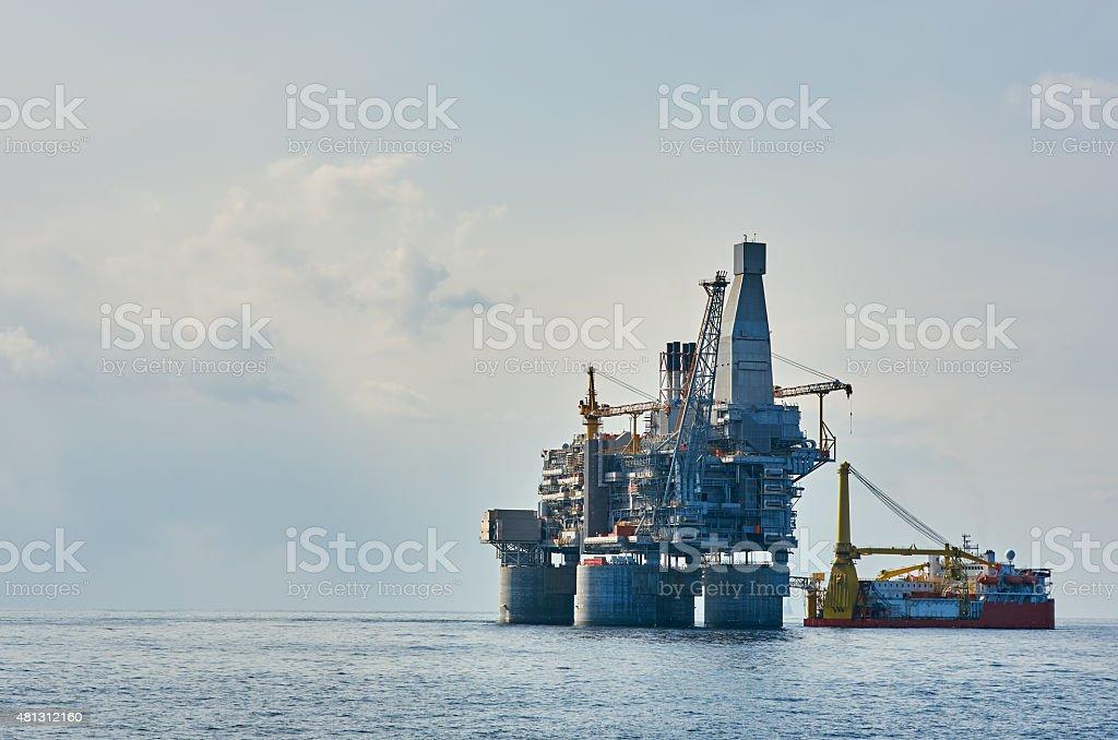 Oil rig sea stock photo