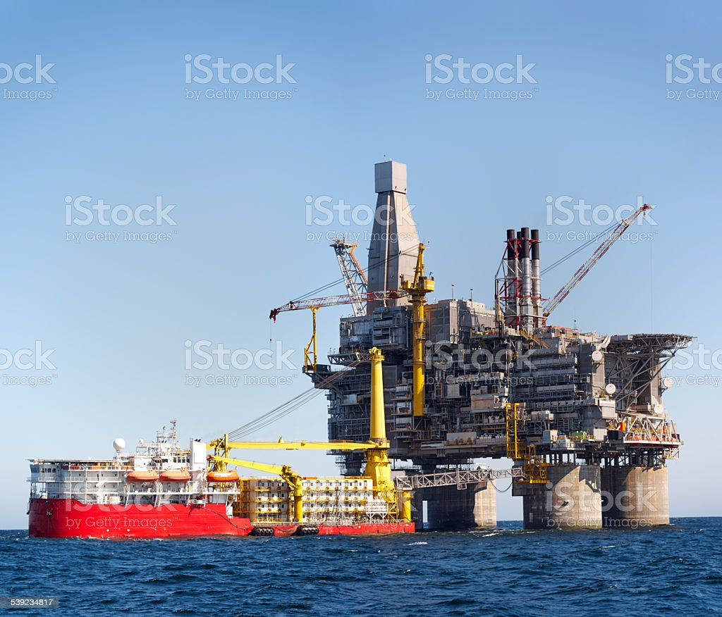 Oil rig sea stock photo
