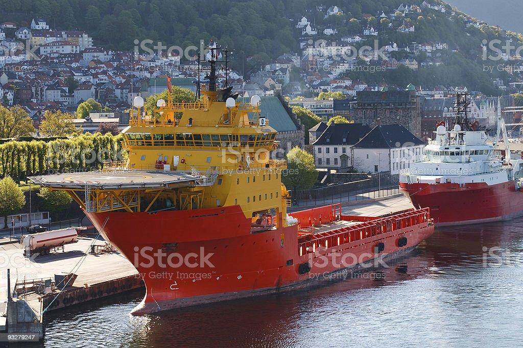 Oil Rig Supply Boat at Bergen Harbor, Norway royalty-free stock photo