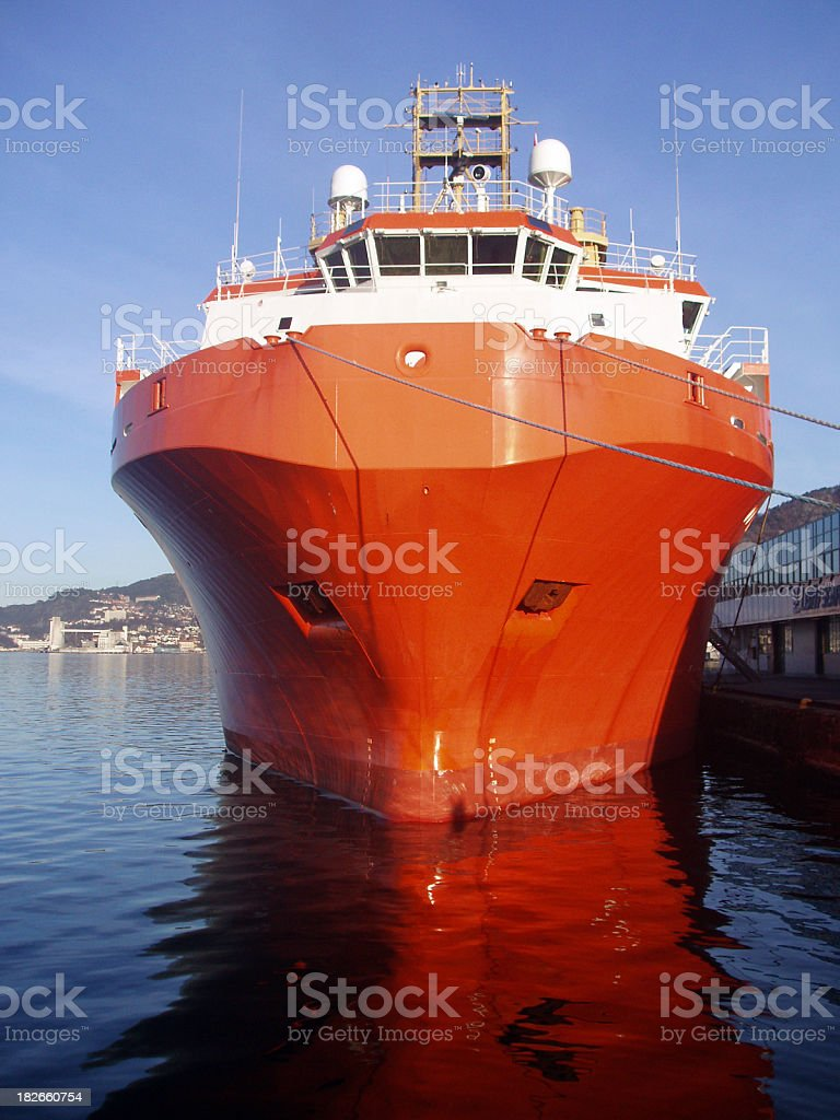 oil rig supply boat in harbour, Bergen, Norway royalty-free stock photo