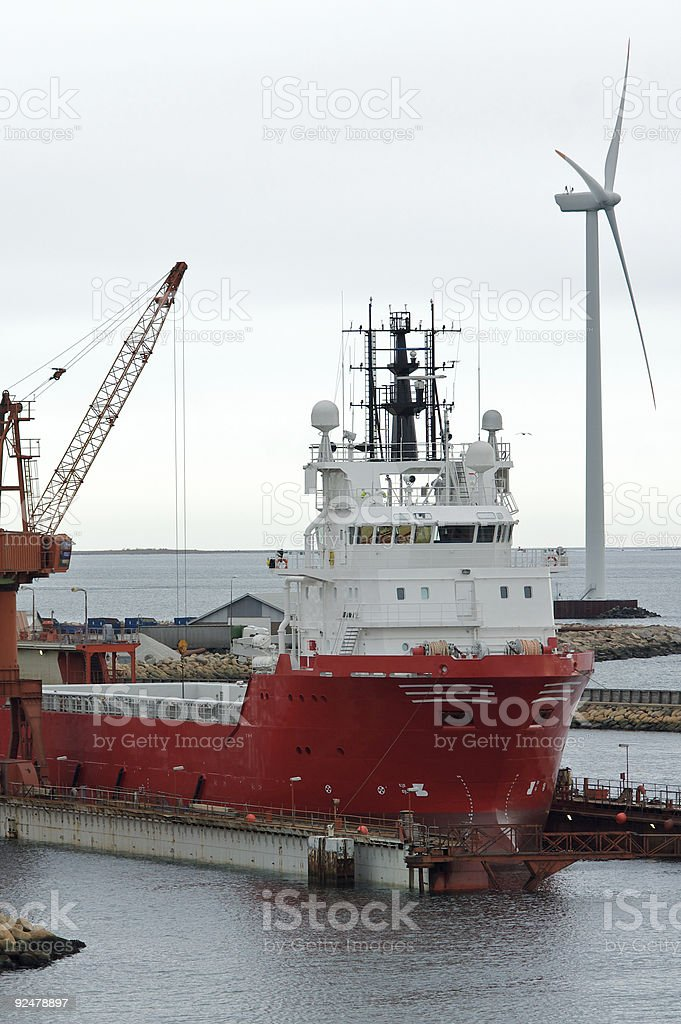 Oil rig support vessel stock photo