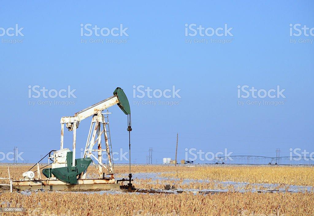 Oil rig - Texas oil field pumpjack stock photo